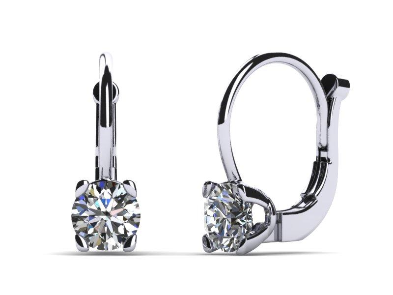Platinum Diamond Leverback 1 Carat Earrings Build Your Own