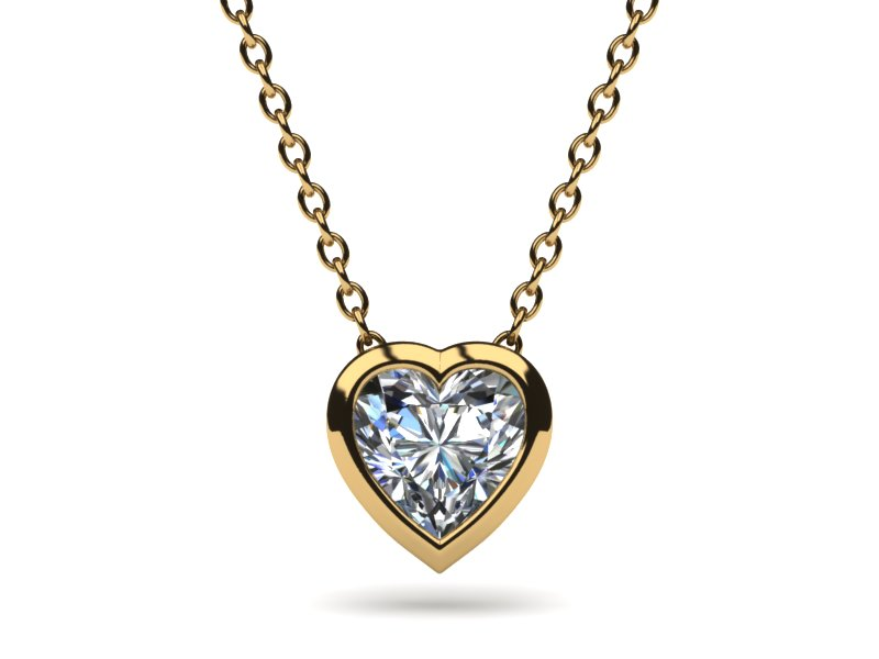 18k yellow gold bezel set heart pendant aloadofball Images
