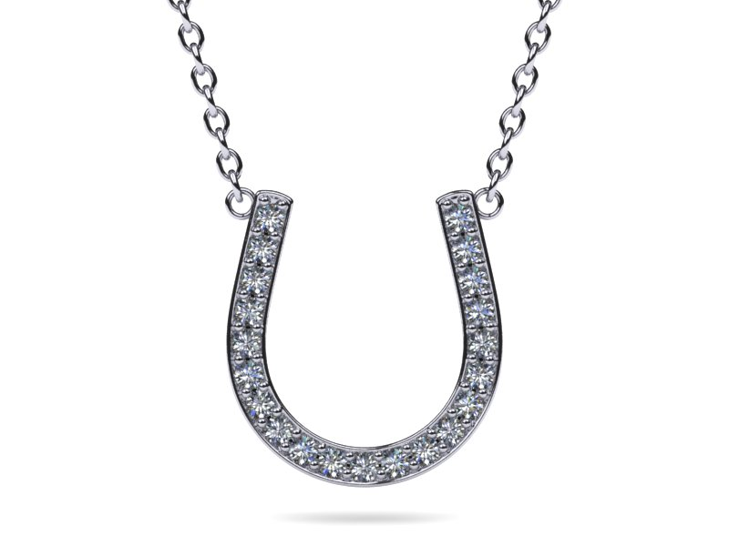 18k white gold diamond horseshoe pendant 15 carats tdw aloadofball Image collections