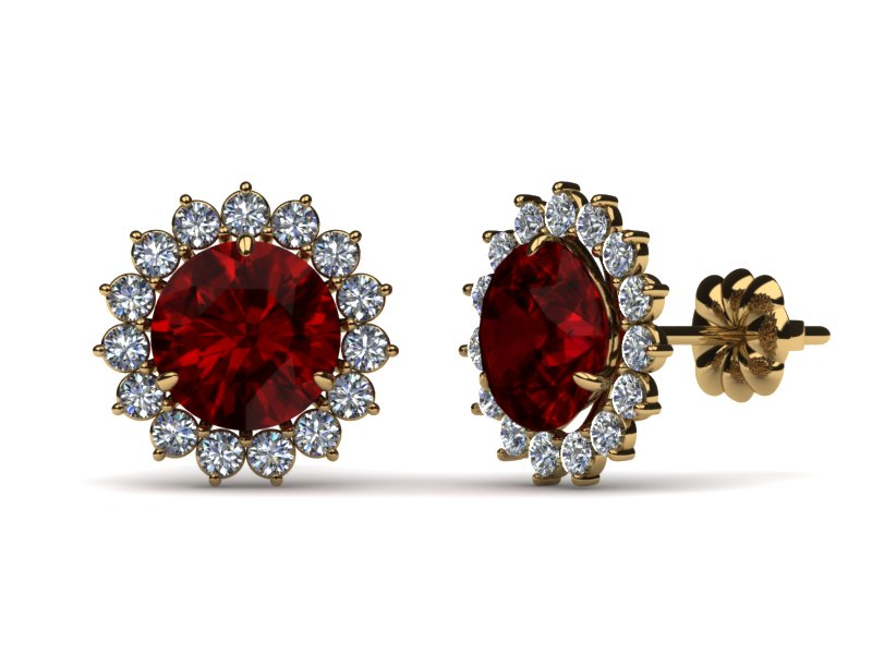 18k Yellow Gold Diamond And Ruby Round Brilliant Stud Earring With Halo