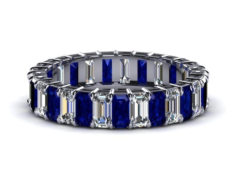 Sapphire And Diamond Eternity Band White Gold