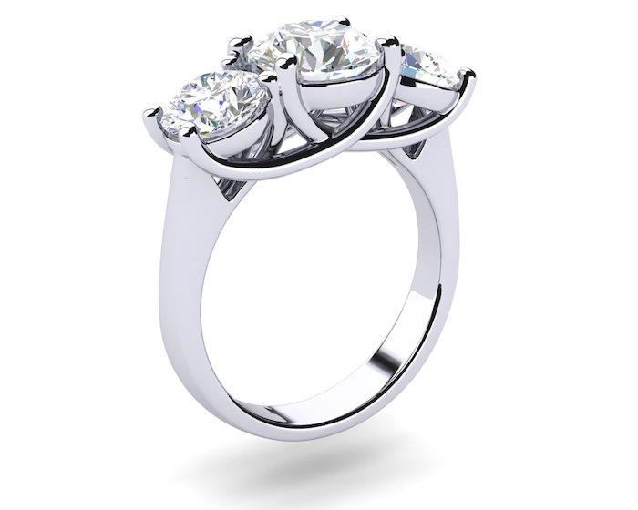 Past, Present, Future Three Stone Diamond Engagement Ring