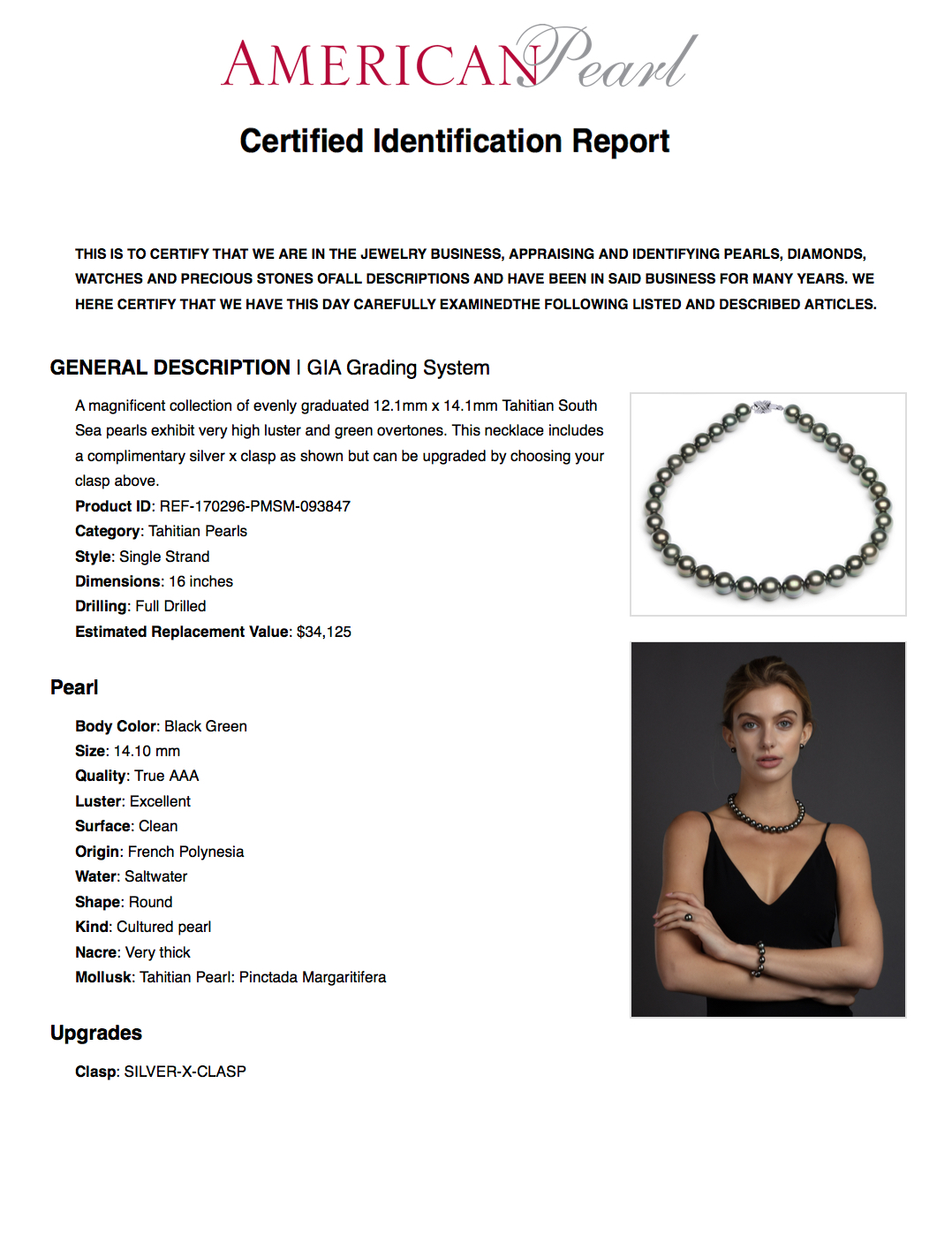 GIA Graded Tahitian Pearl Necklace