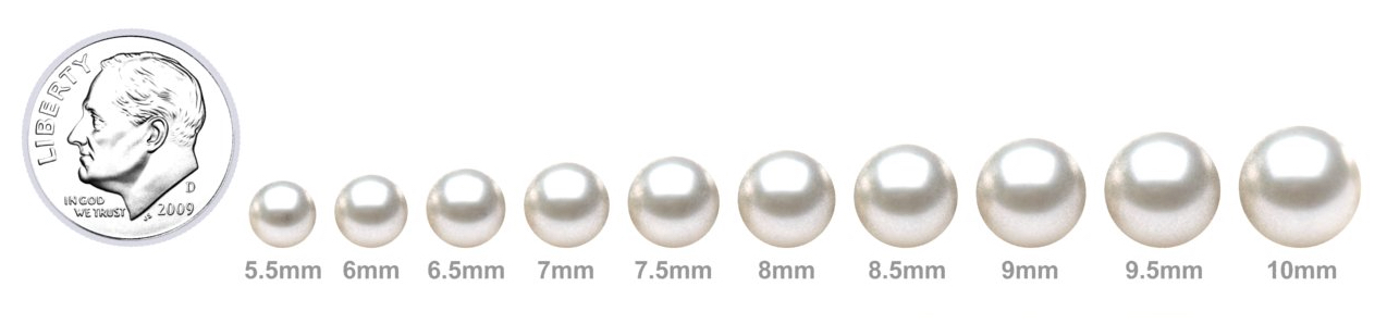 Japanese Akoya Pearl Sizes From 5.5mm to 10mm next to a Dime