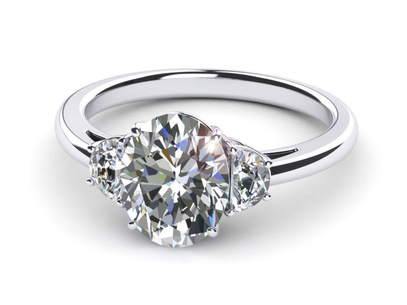 Platinum Diamond Oval Half Moon Engagement Ring