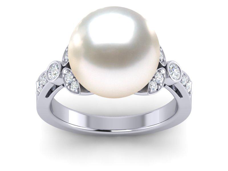 14k white gold diamond white pearl flower pearl ring south sea pearl white flower ring mightylinksfo