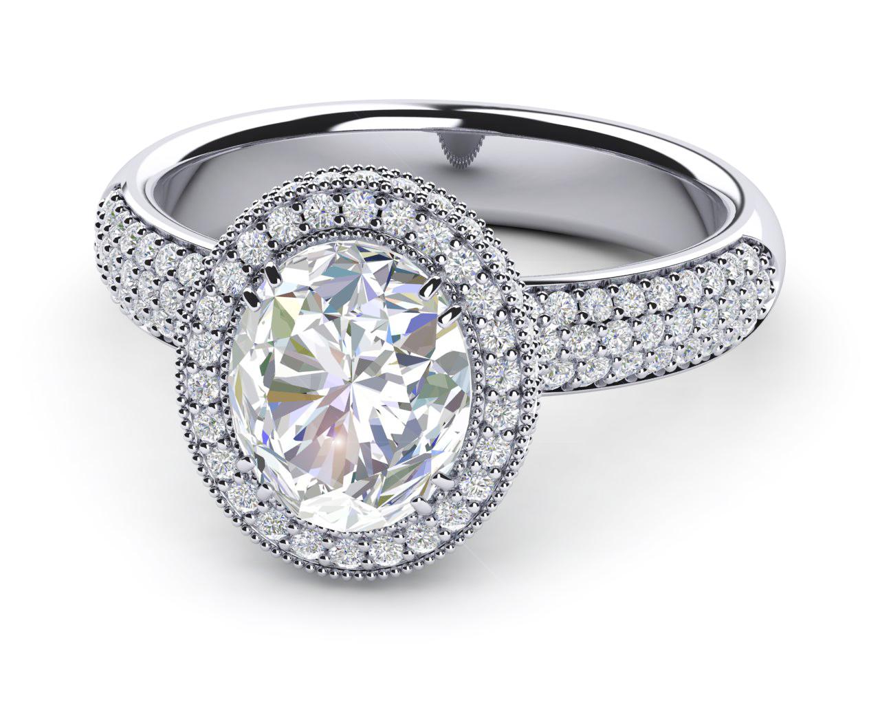 Princess Diana Wedding Ring.Platinum Diamond Side Princess Diana Style Ring