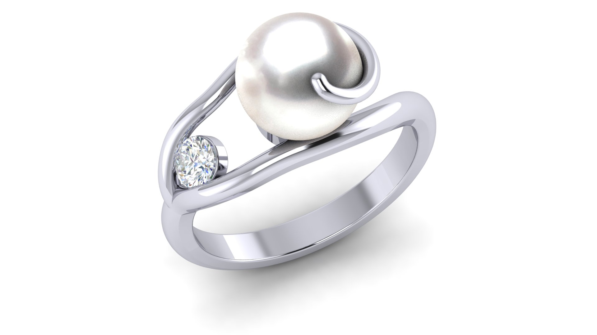 2f6542528 Well known 14K White Gold Diamond & White Pearl Wave Ring DE57