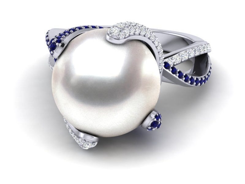 Well known 14K White Gold Sapphire And Diamond & White Pearl Octopus Ring YZ55
