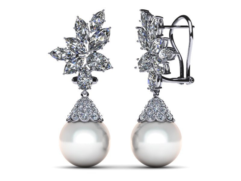 White South Sea Pearl Earring Cer Diamond Cap Style 4 37 Carats T Dw