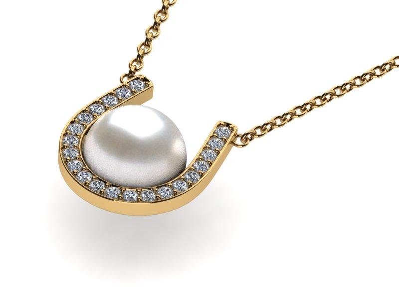 14k yellow gold diamond white pearl horseshoe pearl cradle pendant choose your metal14k yellow gold aloadofball Gallery