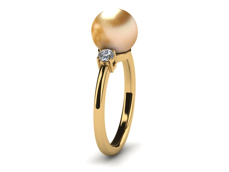 Pearl Ring With Side Stones