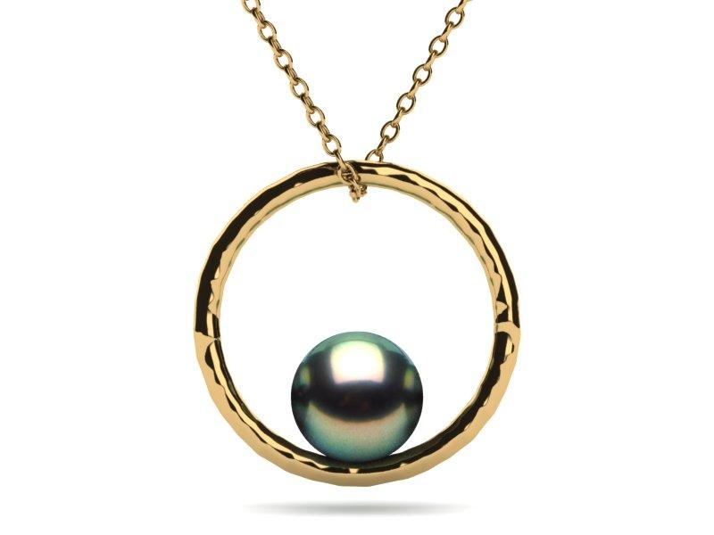 14k yellow gold peacock tahitian pearl ring hammered pendant aloadofball Images