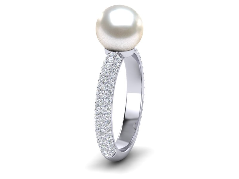 Pave Pearl Ring