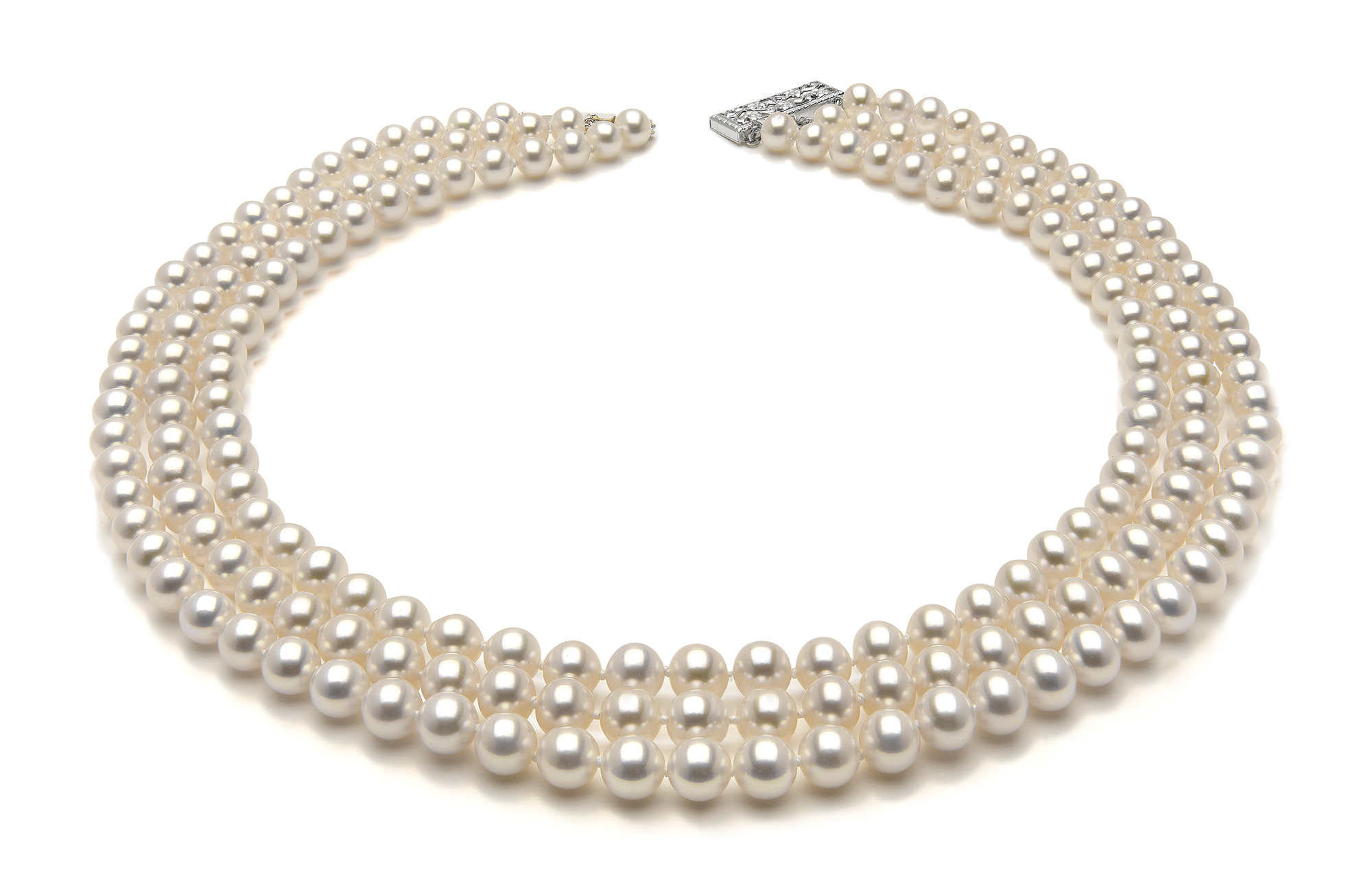 6eaf600aebe1a 6.5 x 7mm White Freshwater Triple Strand Pearl Necklace