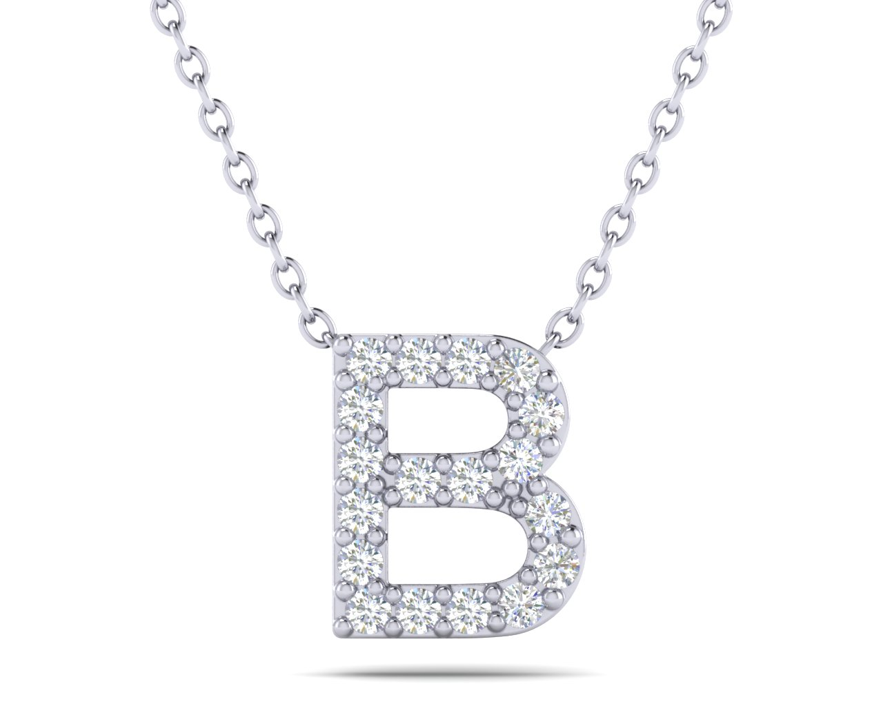 18k white gold diamond letter b necklace