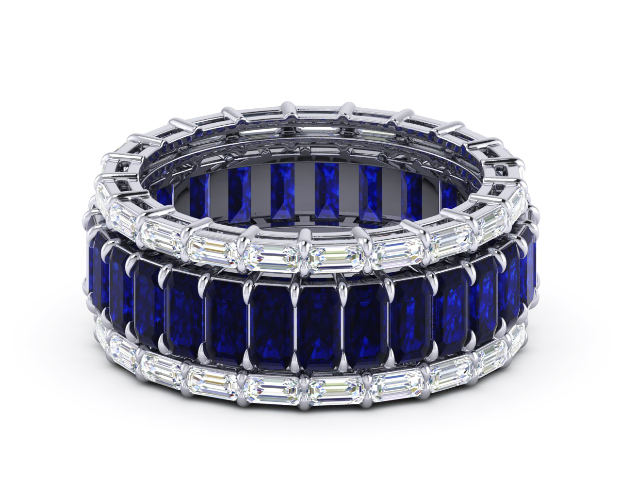 1527 RHODIUM BAND SAPPHIRE BLUE SIMULATED DIAMOND FULL ETERNITY BAND EMERALD CUT