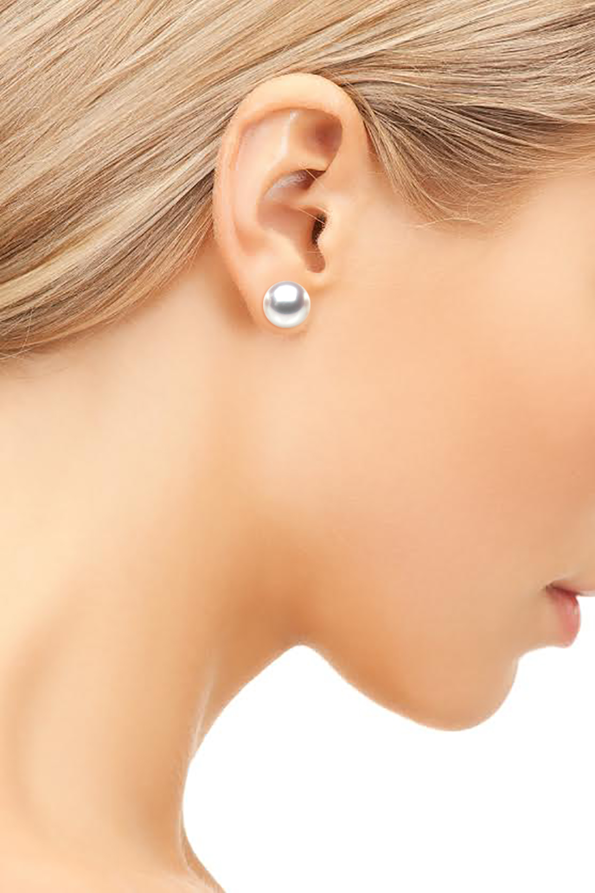 HS Japanese Akoya Cultured Pearl 8mm Stud Earrings 14ct White Gold Top Grading