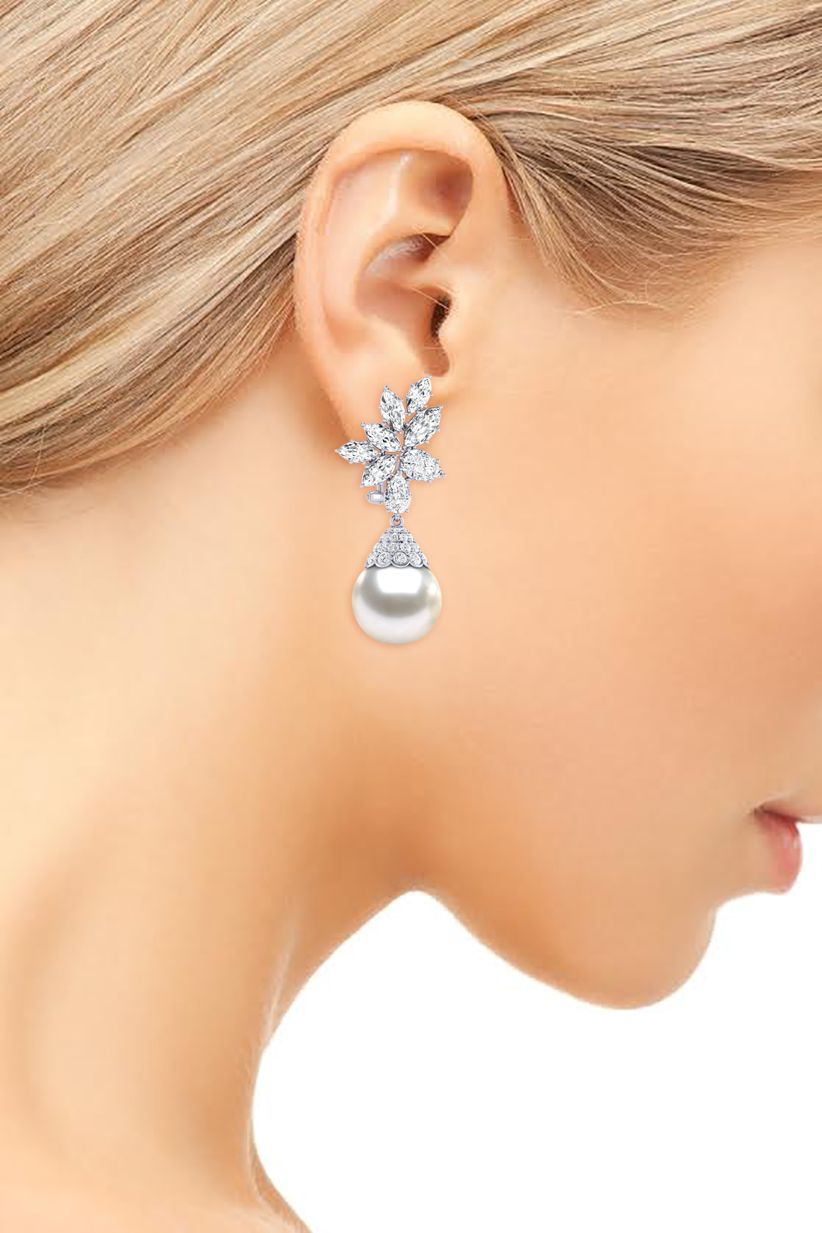 14K White Gold Diamond & White Pearl Cluster With Cap Pearl Earring
