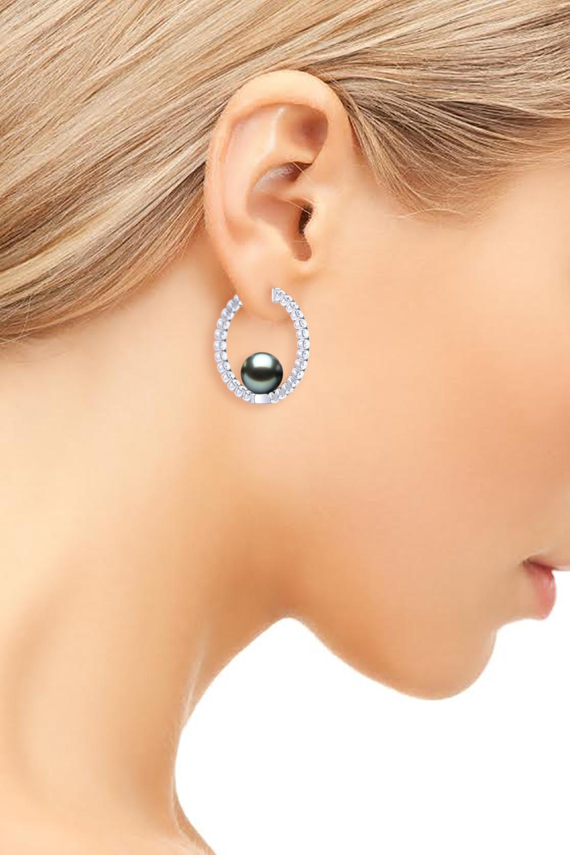 157d22a68e9a8 Tahitian Pearl Large Diamond Hoop Earring