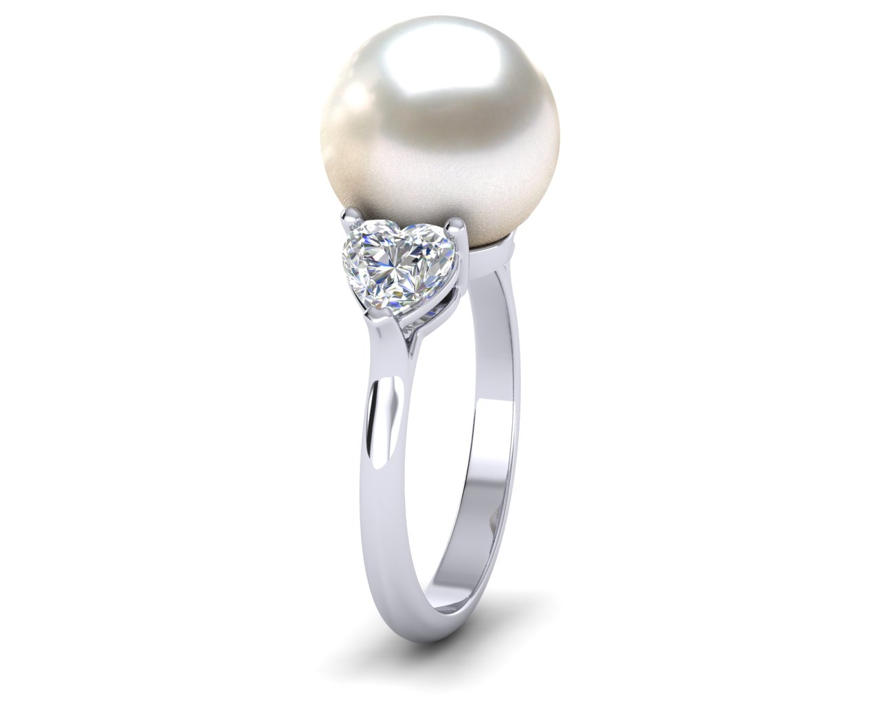 Gold Heart Ring Gold Heart Gold Heart Adjustable Freshwater Pearl Ring Sterling Silver Heart Pearl Ring Freshwater Pearl Heart Ring