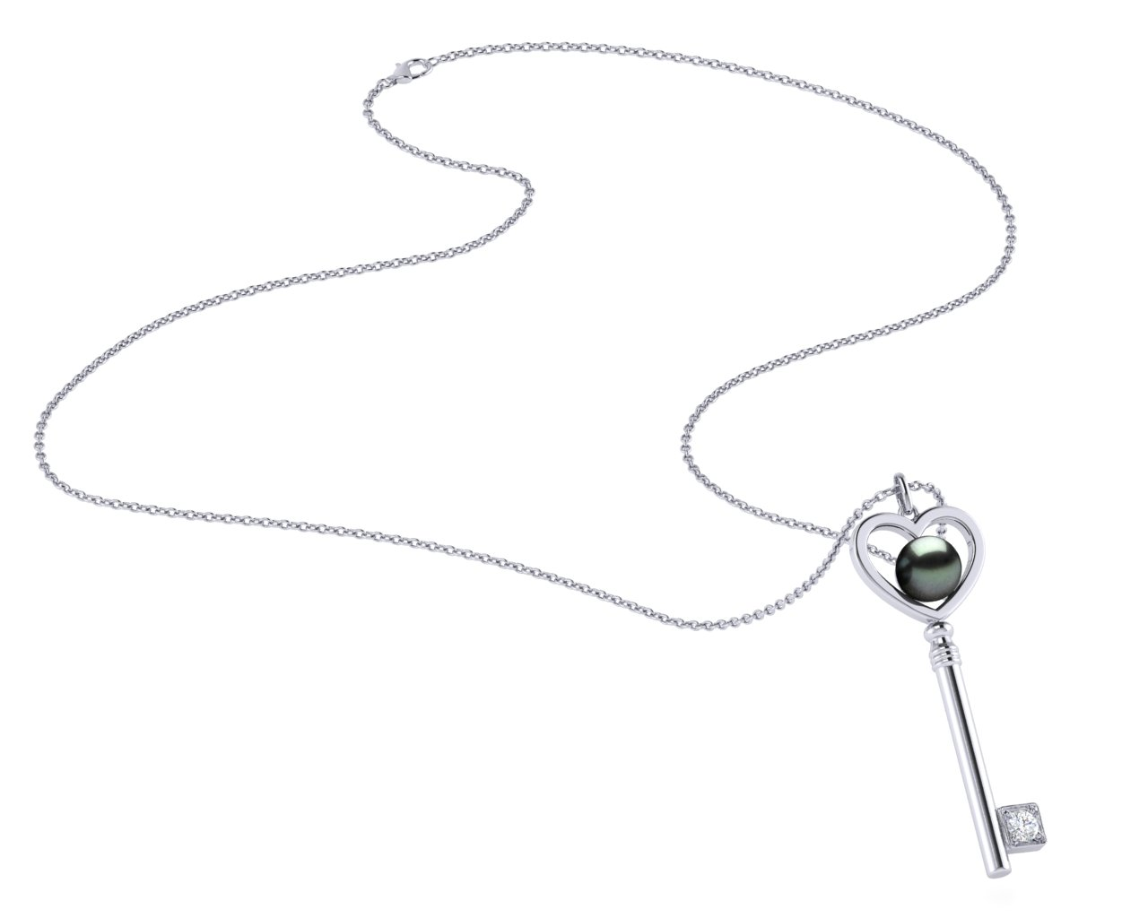 90952823ce 14K White Gold Diamond & Tahitian Pearl Key To Her Heart Pendant
