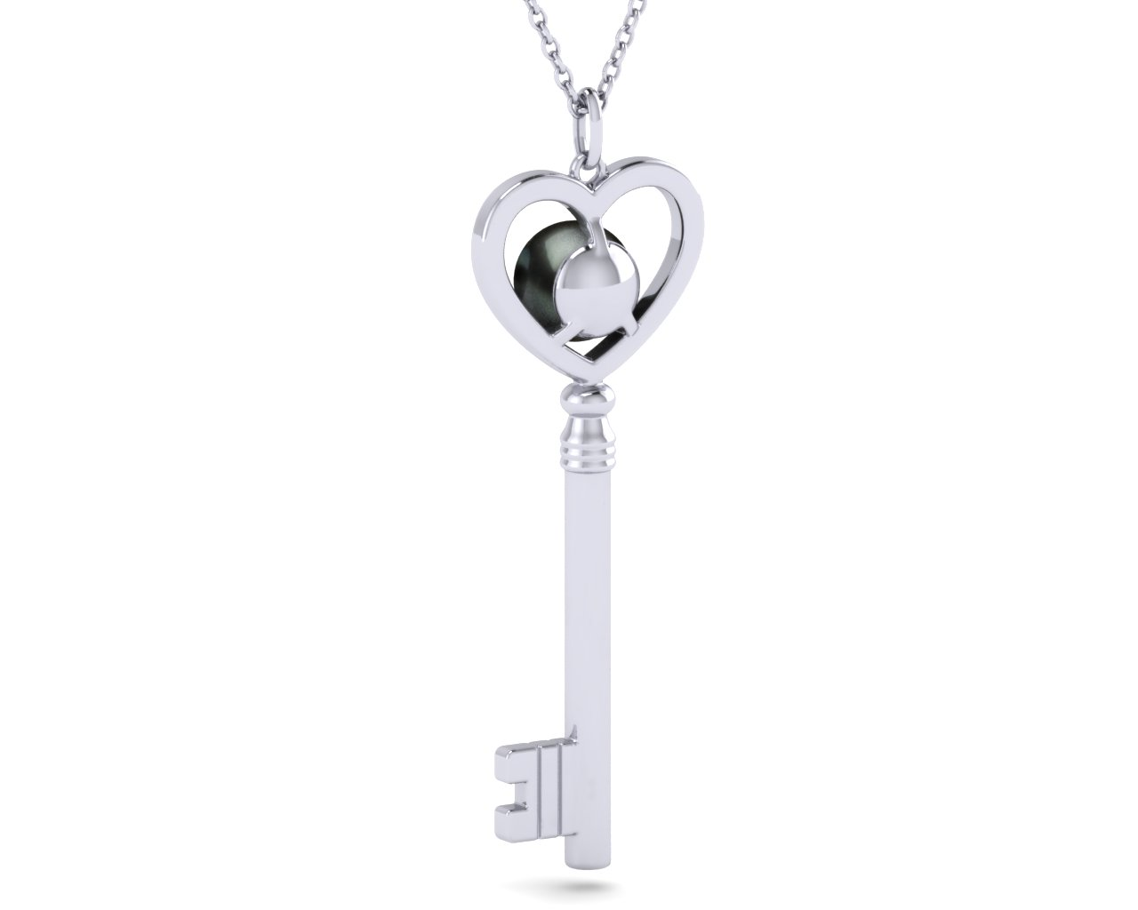 63123c9341 14K White Gold Tahitian Pearl Pearl Key To Her Heart Pendant