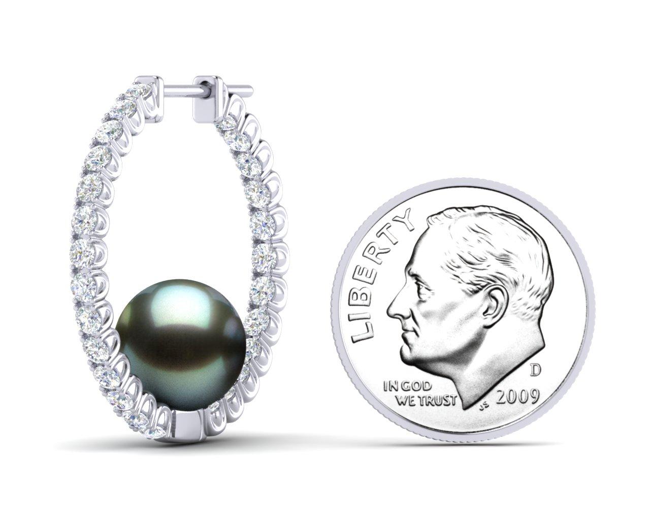 926eb213d3cb2 Tahitian Pearl Large Diamond Hoop Earring