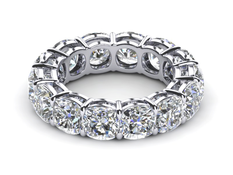Wedding Ring Bands >> Platinum Diamond Cushion Cut Eternity Band 10 Carats T.d.w.