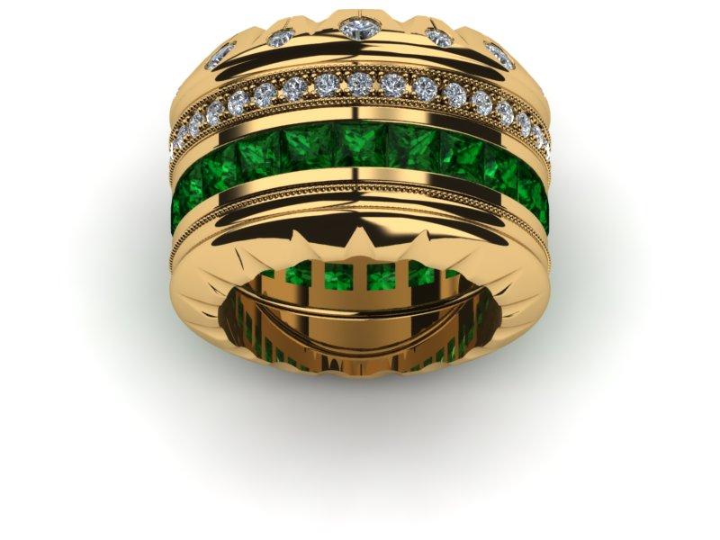 18K Yellow Gold Diamonde Si1 And Emerald Triple Crown Ring